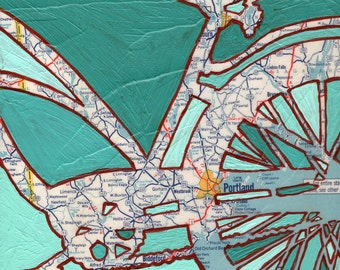 Bike Portland Maine print --bicycle art print with vintage Maine map