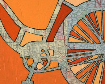 Bike Atlanta no.3 -bicycle art print of map painting featuring downtown Atlanta Georgia