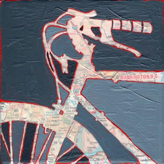Bike Washington DC - Archival print of original bicycle map painting