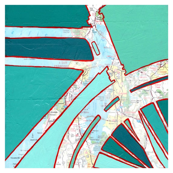 Bike San Francisco no.1 - featuring San Francisco, Oakland, Walnut Creek archival bike art print