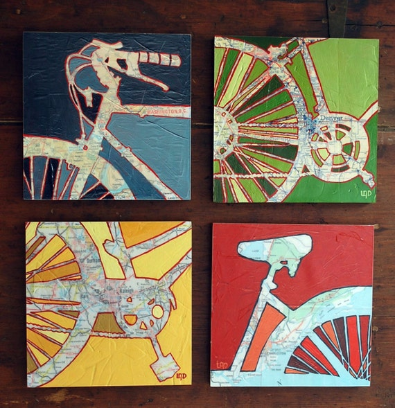 Bicycle art collection Four 8x8 Mounted bike map prints