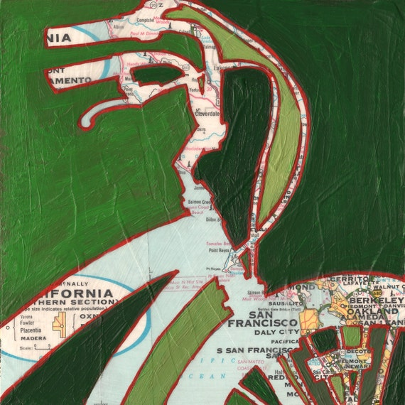 Bike San Francisco no.2-bicycle art print with vintage maps