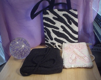 3 Destash Evening Bags, Bags, Purses, Handbag, Designer Purse, Destash, Statement Bags, Contemporary, Victorian, Bohemian, Cottage Chic,OOAK