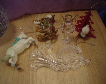 5 Destash Christmas Ornaments, Christmas, Tree, Victorian, Cottage Chic, Bohemian, Eclectic, Romantic, Lights, Statement, Contemporary, OOAK