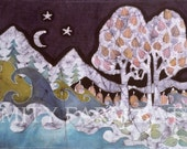 """Evening in a Gentle Place - mirror image fabric -  5"""" x 14""""  quilting -"""