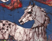 Appaloosa in Flower Field with Crescent Moon   -  horizontal  print from original batik
