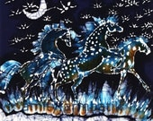 Horses Frolic on Starlight Night  -  large giclee print from my original batik painting