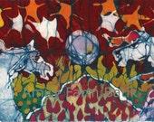 Fireworks Horse Greeting -  Red White & Blue  -  horizontal  batik print from original