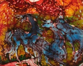 Horses on Fiery Night - Summer heat - Art -  Fireworks   - original batik painting