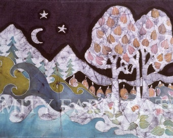 Evening in a Gentle Place - batik print from original - waves - moon - stars - heart shaped leaves
