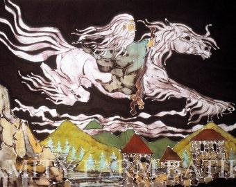 Tolkien - Gandalf and Shadowfax - Lord of the Rings -  The Hobbit  - Batik print from original