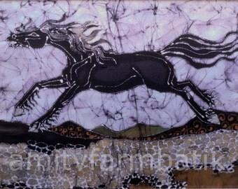 Black Stallion Gallops above Stones - batik print from original - wild mane