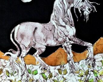 "Unicorn in Flower  field  -   batik print from original - ""The Last Unicorn"""