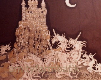 Unicorns Swim in Sea Below Castle - batik print from original  - The Last Unicorn
