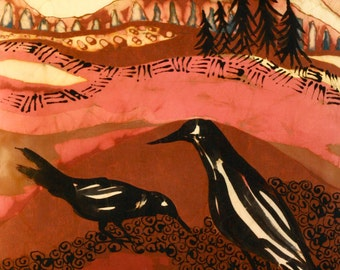 Crows Find Each Other   -   Original batik painting
