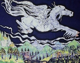 Pegasus Leaps Over Field and Stream  - print from original batik