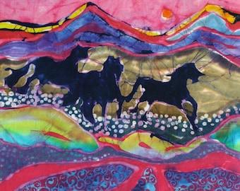 Horses Running through Stream     detail print from original batik