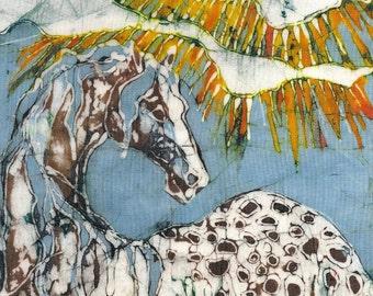 Appaloosa in Summer Sun Rays   - print from original batik