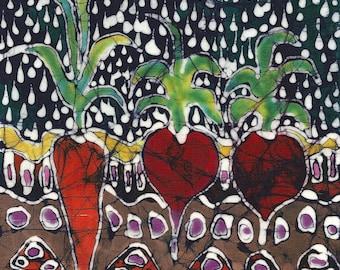 Garden  on Summer Nite  with Rain - Batik print from original