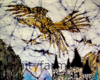 Golden Eagle, Gwaihir, Flies above Castle - batik print -  Hobbit - Lord of the Rings