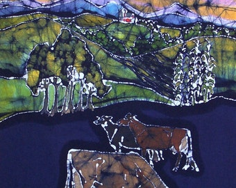 Three Cows Below the Adirondacks - batik print from original
