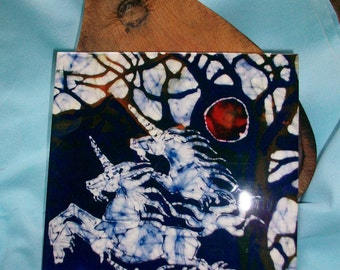 """Trivet  12  - Unicorns Rise From Dreams  -  Ceramic tile - """"The Last Unicorn"""""""