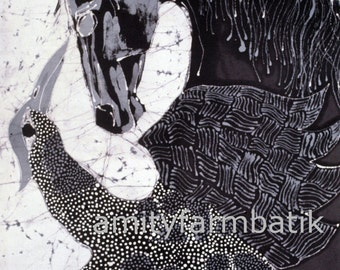 Horse Confronts the Speckled Bird  -    Large giclee print from original batik