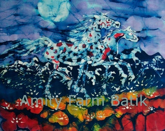 Horses Prance in the light of the Summer Moon - Red White Blue  -  batik print from original