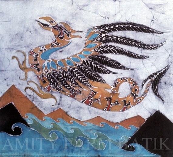 Beaked Dragon Flies Above The Sea - batik print from original  - winged dragon