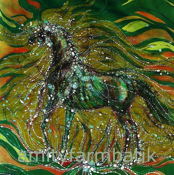 Horse Rises from the Earth   -   Detail -   batik print from original