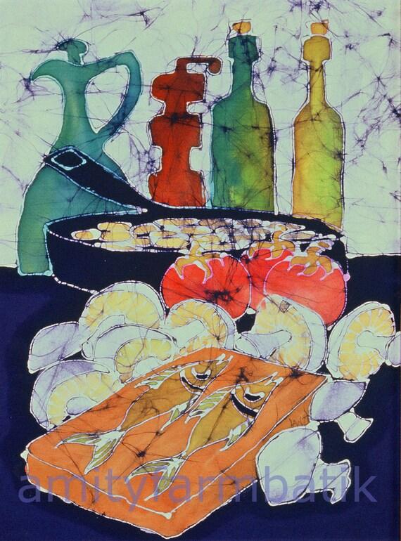Still Life with Blues  -  batik print from original - kitchen - food