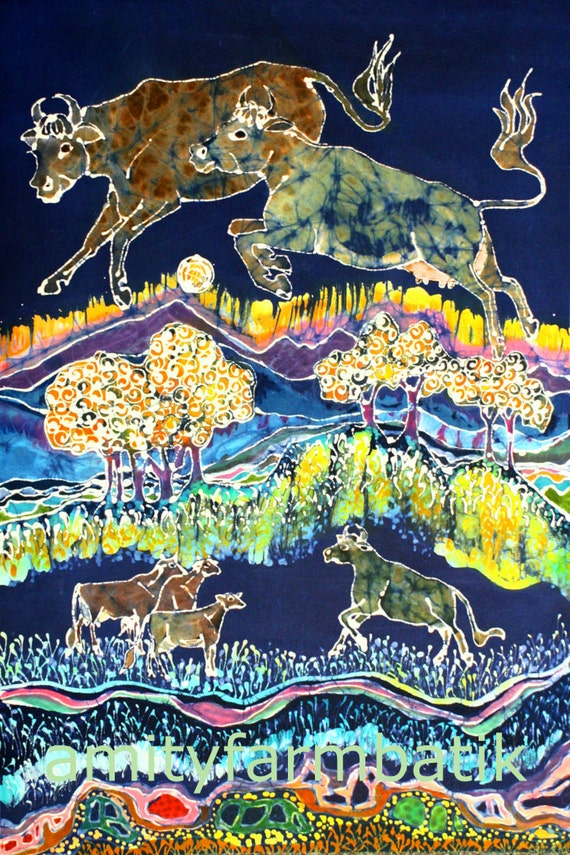 Cows Jumping Over the Moon - Large limited edition giclee  print from original batik