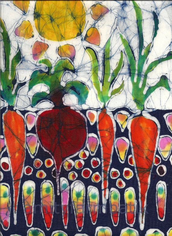 Summer Sun on Garden  - batik print from original