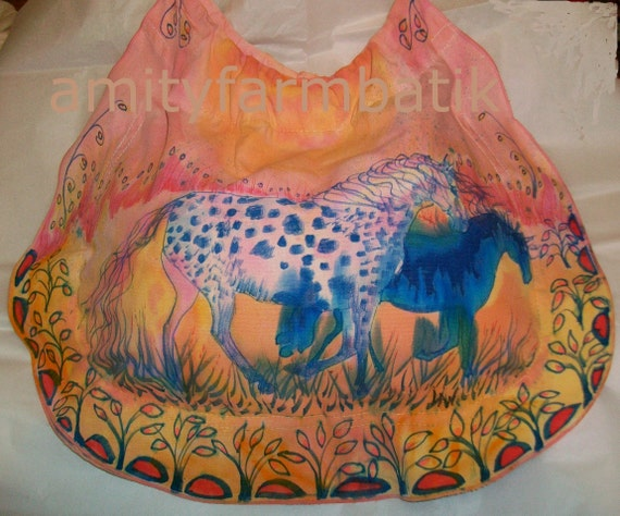 Appaloosas Play in Golden Field  -  Hand Dyed and painted Circle Bag - cotton purse