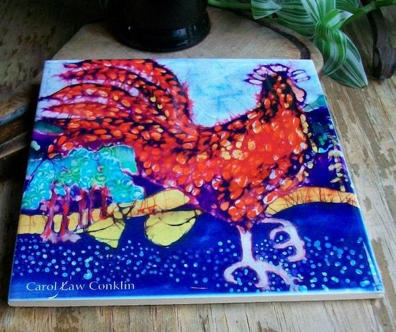 Trivet  9  -  Morning Rooster   -  Ceramic tile