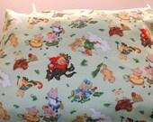 Nursery tale over light green color. Toddler/travel size pillowcase. Handmade