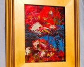 Vibrant FRAMED Abstract ORIGINAL Oil Acrylic Painting   Pallet knife   Art  Abstract marsh  landscape  Red Blue  Claire McElveen
