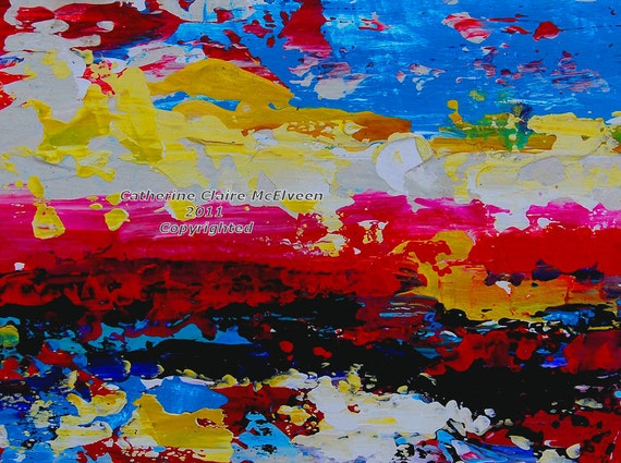 Vibrant Original    Acrylic Fine Art Abstract Landscape Painting  Study on Gessoed Board  Catherine Claire McElveen