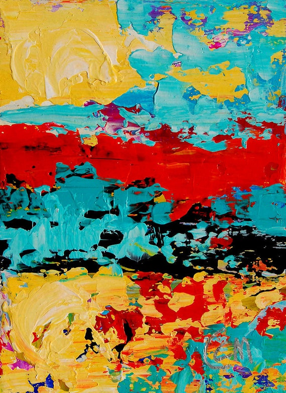 Vibrant Original  Modern  Acrylic Fine Art Abstract Landscape Painting  Study on Gessoed Board  Catherine Claire McElveen