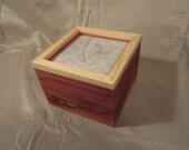 Wood & Handmade Paper Box - Cedar Wood with Pink Stripe Paper