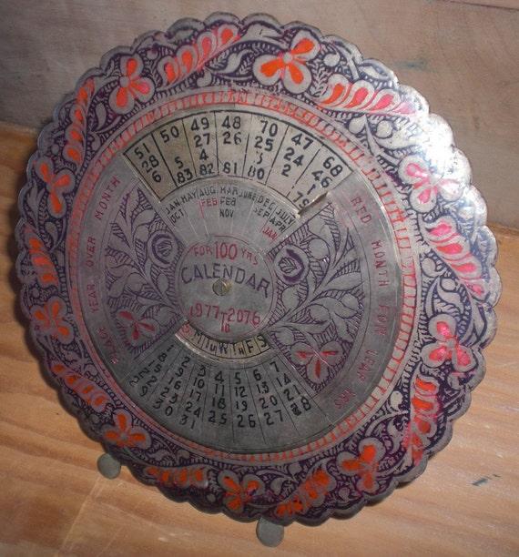 Perpetual Calendar Vintage : Year vintage perpetual metal desk calendar victorian in