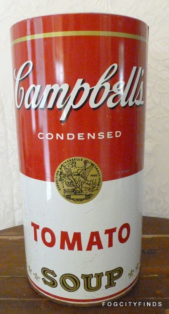 1960's Campbell's Soup Trashbin - for your classy office rubbish. It inspired Warhol...
