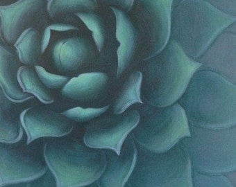 "Succulent in the spotlight. 24x40x1.5"" Original. Acrylic."