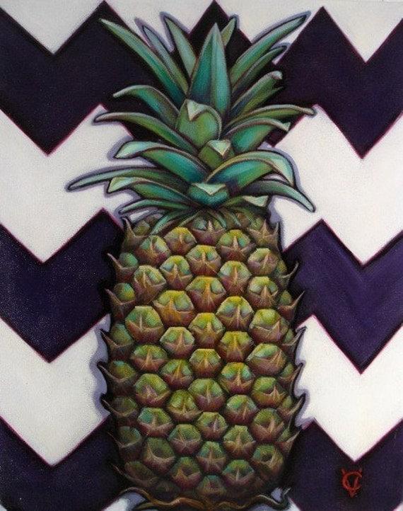 Pineapple Chevron 16x20  Original Acrylic on Canvas by Carin Vaughn