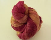 Hand Dyed Silk Fiber Cap - Red And Gold - 12-11