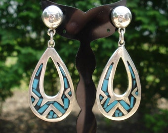 Taxco Mexican Turquoise Sterling SILVER Pear Shaped Earrings