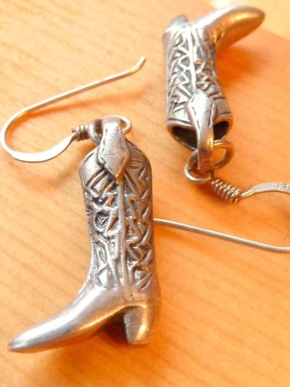 SALE: Cowgirl Boots. 925 Sterling Silver Earrings. Southwest. USA. 1950s