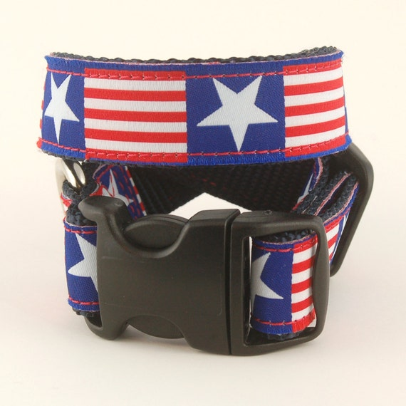 American Dog Collar Red White and Blue
