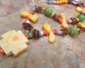 Yellow Cross Beaded Handmade Necklace and Earring Set