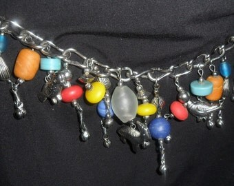 Vintage  Chain Style Colorful Southwest Belt